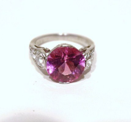 J. E. C. & Co. Pink Sapphire Platinum Diamond Ring