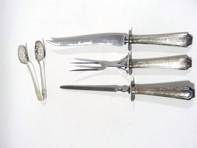 Tiffany Serving Tongs with a Carving Set