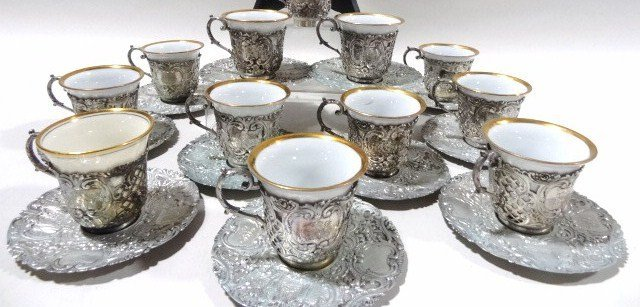 Silver Demitasse Cups and Saucers