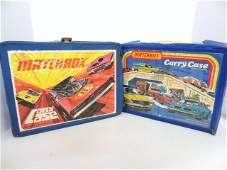 Two Vintage Matchbox Carrying Cases with Miscellaneous