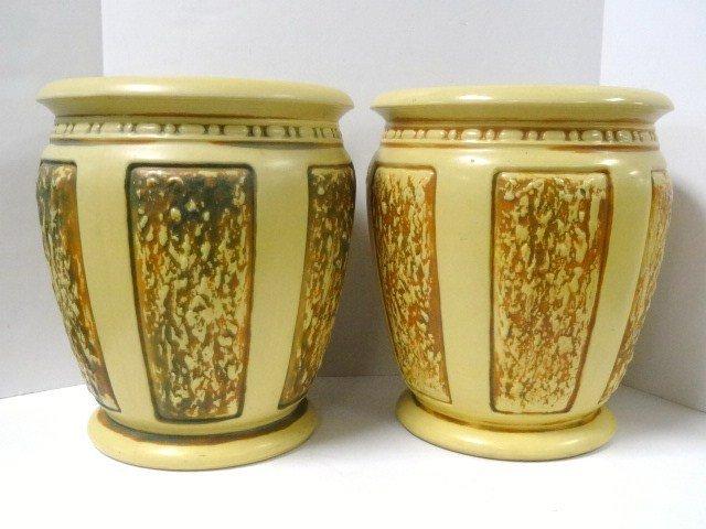 Pair Roseville Pottery Florentine II Sand Jars 299-14