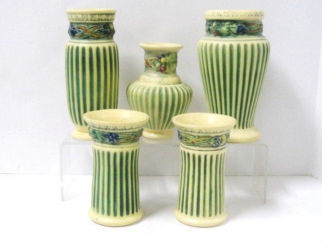 Roseville Pottery Corinthian Pattern Lot of Five Vases