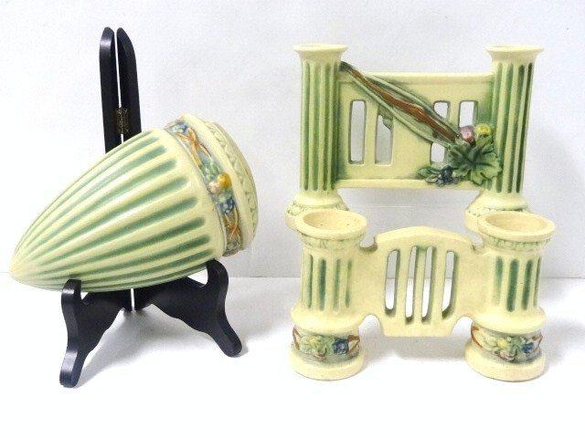 Three Roseville Pottery Corinthian Pattern Vases