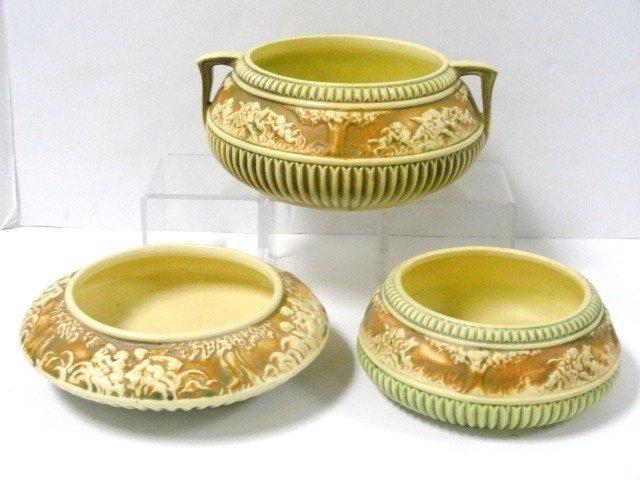 Three Roseville Donatello Pattern Bowls