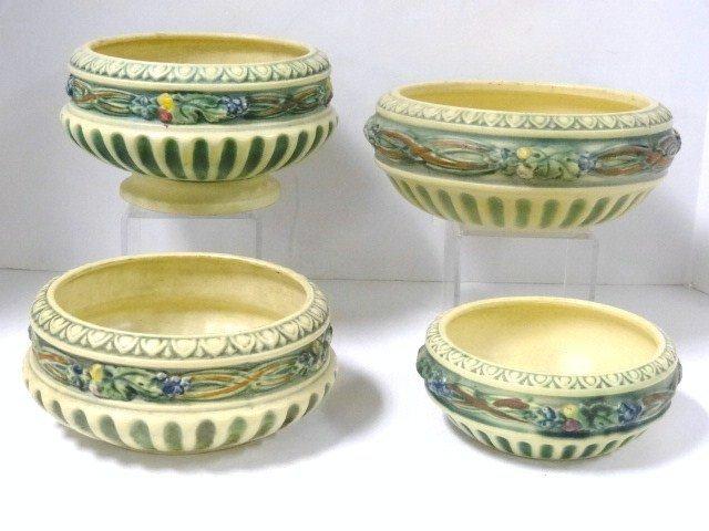 Four Roseville Corinthian Bowls