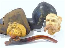 Pair Meerschaum Figural Head Pipes