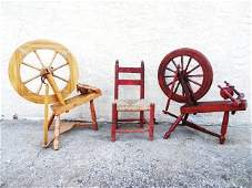 Pair Small Spinning Wheels and Chair