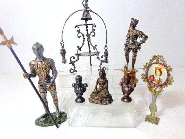 Dollhouse Miniature Bronze Statues & Silver Coin Statue