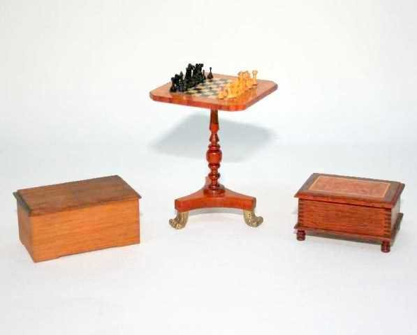 Wonnacott Chess Table and Boxes Dollhouse Miniatures
