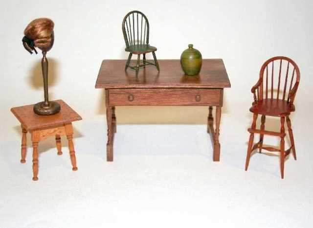 Judy Beals Desk and other Artisan Dollhouse Miniatures