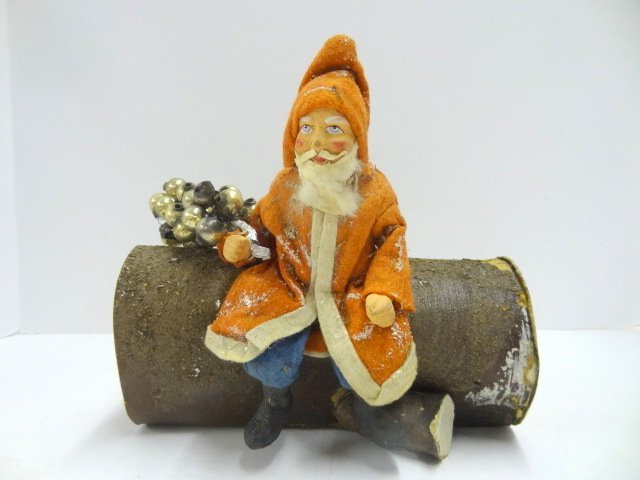 Large Santa On Log Candy Container