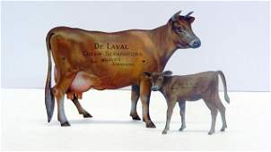 Pair DeLaval Advertising Tin Cows