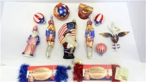 Contemporary Glass Patriotic Xmas Ornaments
