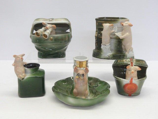 Antique German Porcelain Pig Grouping