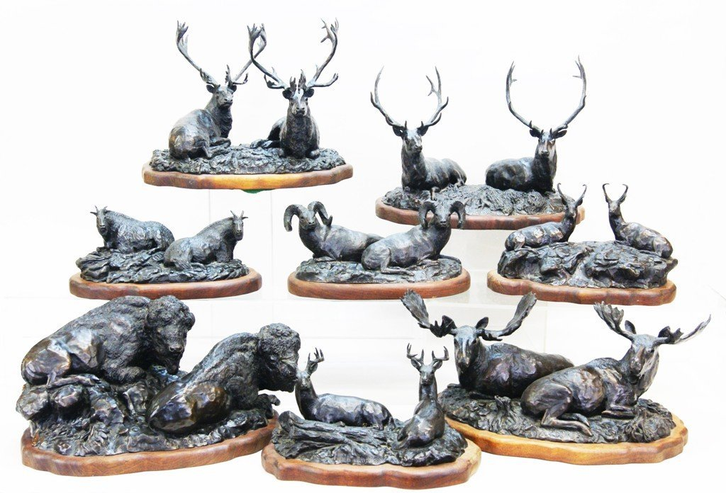 Set of 8 Joe Halko Western Game Bronze Statues