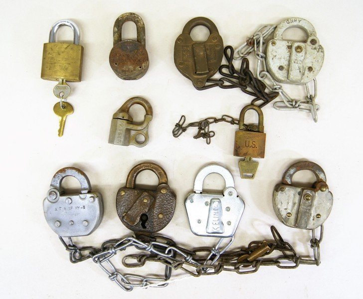 Ten Assorted Railroad Switch Padlocks