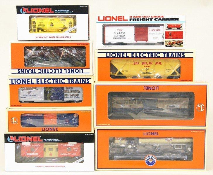 Lionel Lot of Nine Railroad Club Cars