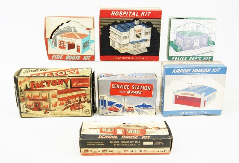 Lot of Seven Plasticville Buildings in O/B