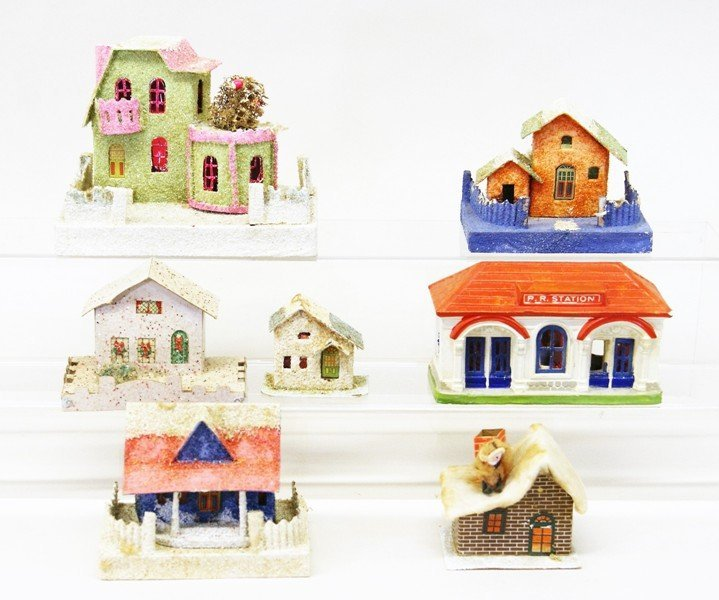 Seven Vintage Christmas Building Decorations