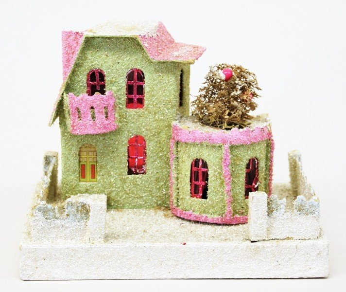Seven Vintage Christmas Building Decorations - 3