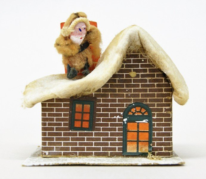 Seven Vintage Christmas Building Decorations - 7