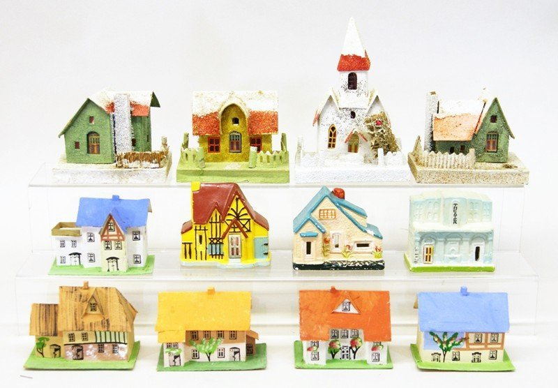 Twelve Vintage Christmas Building Decorations