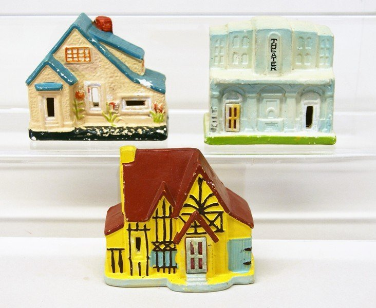 Twelve Vintage Christmas Building Decorations - 2