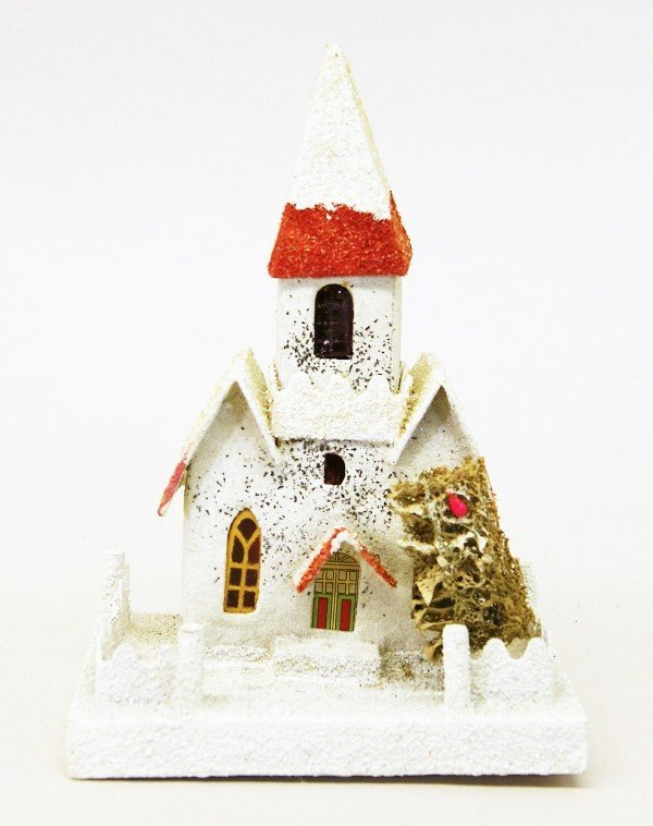 Twelve Vintage Christmas Building Decorations - 4