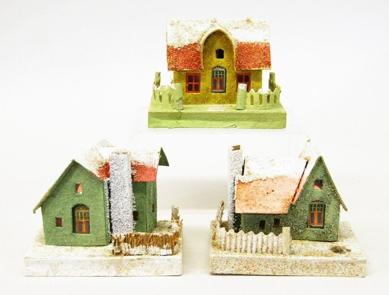 Twelve Vintage Christmas Building Decorations - 5