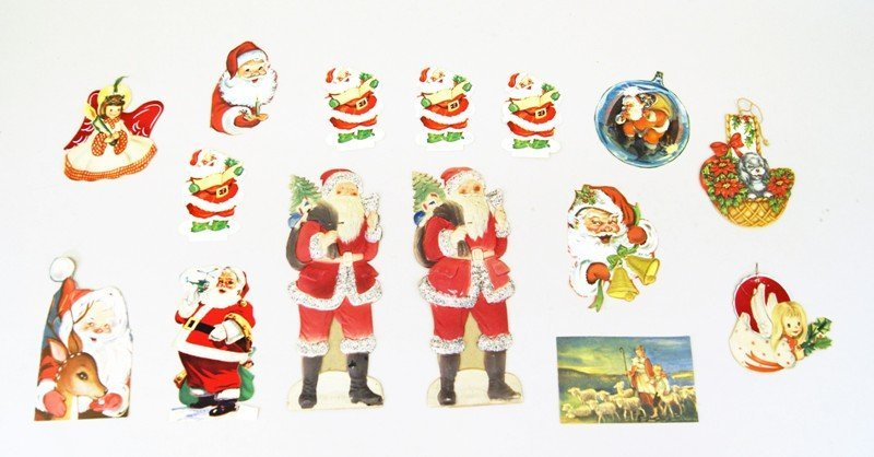 Pair German Die-cut Santas and Others