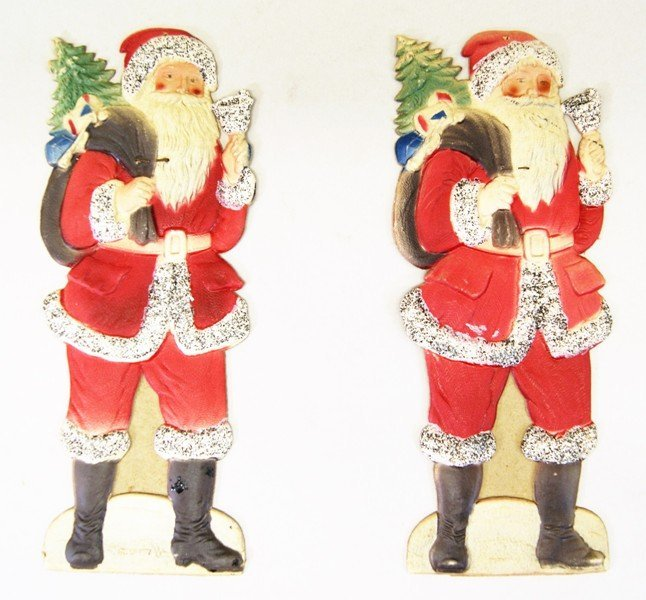 Pair German Die-cut Santas and Others - 2