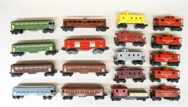 Lionel Lot of Tin Passenger Cars and Various Cabooses