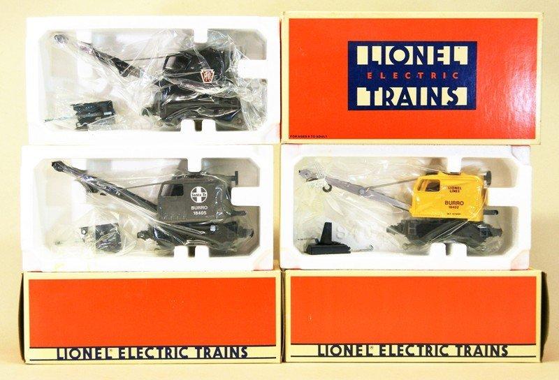 Three Lionel Modern Burro Cranes