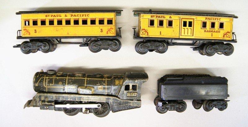 Three Vintage Marx Train Sets. All Steam Locomotives - 2