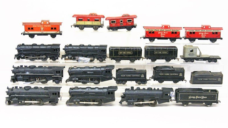 Large Lot of Marx O Gauge Steam Locomotives, Cabooses,