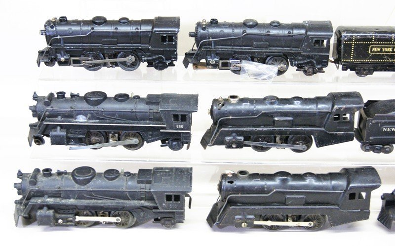 Large Lot of Marx O Gauge Steam Locomotives, Cabooses, - 2