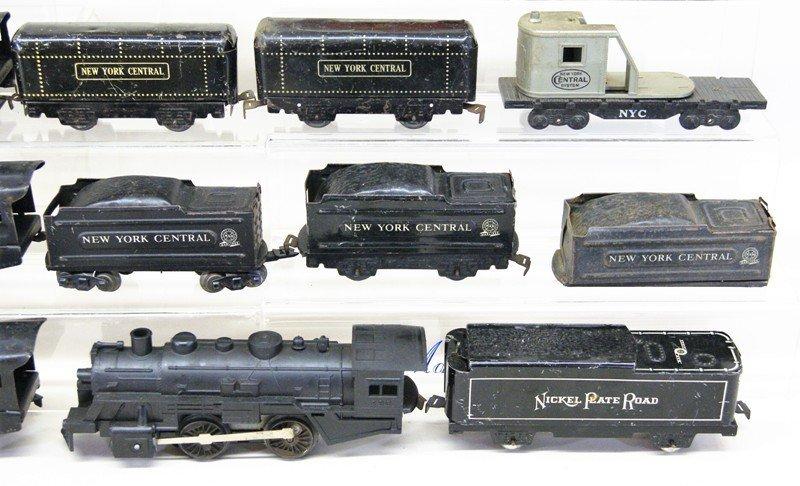 Large Lot of Marx O Gauge Steam Locomotives, Cabooses, - 3