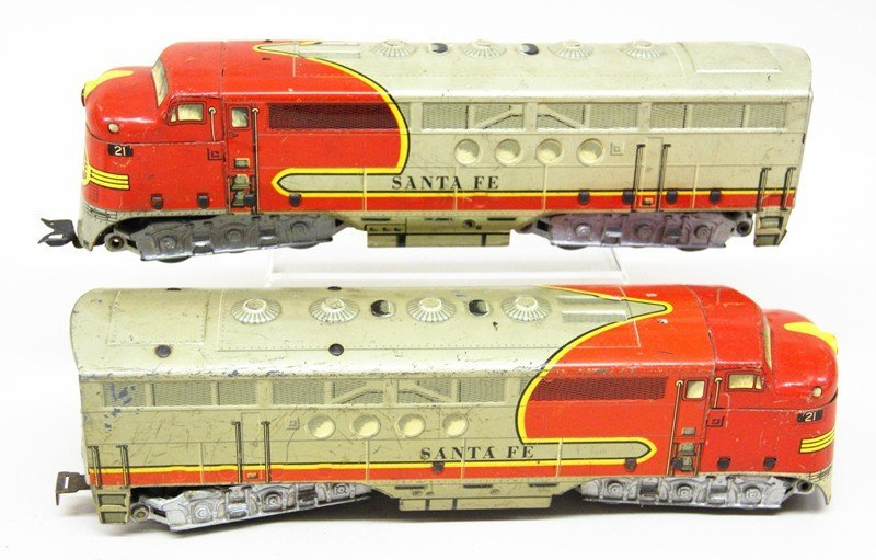 Lot of Three Marx Santa Fe Diesel Engines - 3