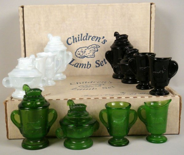 2: Four Children's Lamb Glass Sets by Boyd's