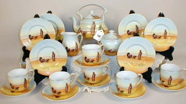 3: Royal Bayreuth Turkey Tea Set.  Tea pot w/lid, sugar