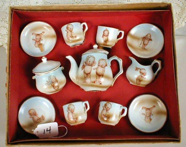 14: Boxed Kewpie Set -Teapot w/lid, sugar w/lid, creame