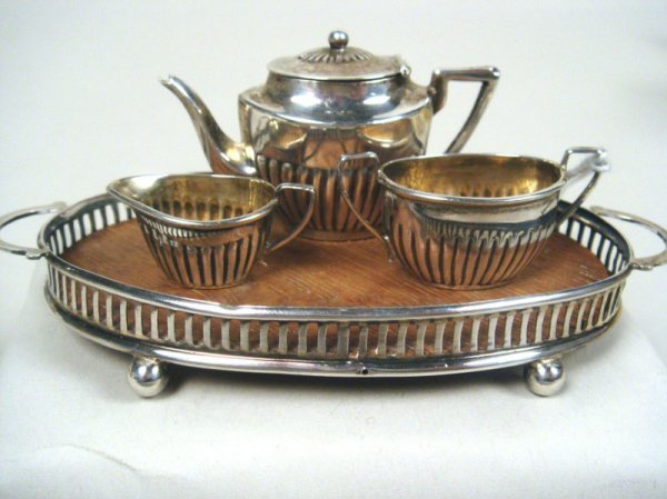 124: Sterling Fluted Tea Service w/Tray, Saunders