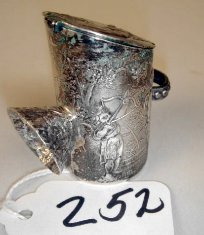 252: French Sterling Coal Scuttle w/Christies East Tag