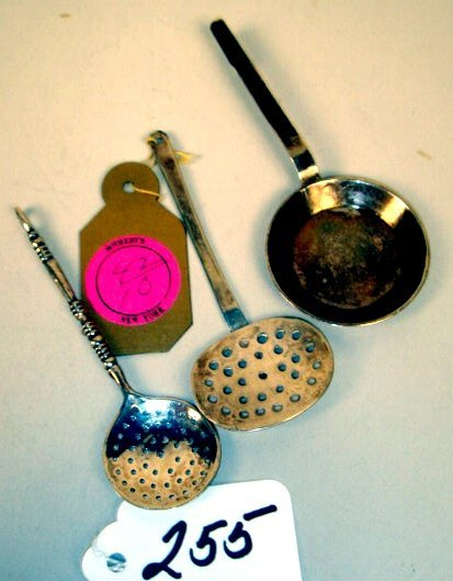 255: Grouping: Two Sterling Strainers and Fry Pan
