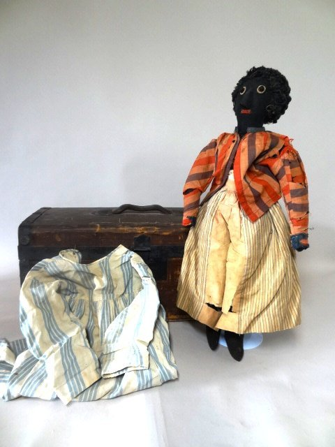 Black Cloth Slave Doll with Trunk
