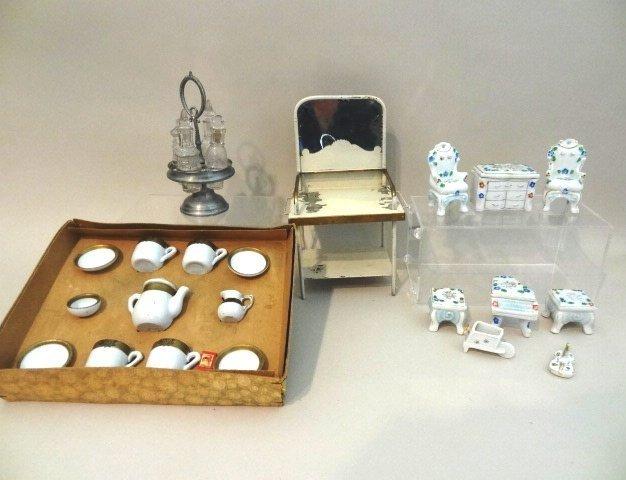Tin Dolls Washstand, German Dish Set, Canister Set,