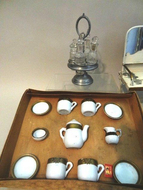 Tin Dolls Washstand, German Dish Set, Canister Set, - 2