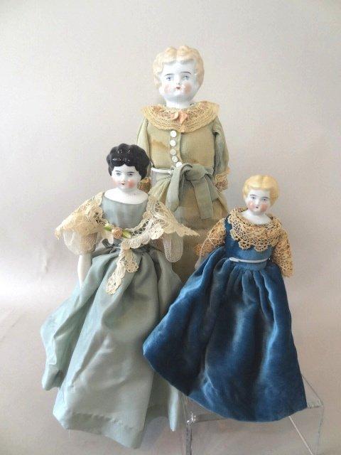 Three China Head Dolls