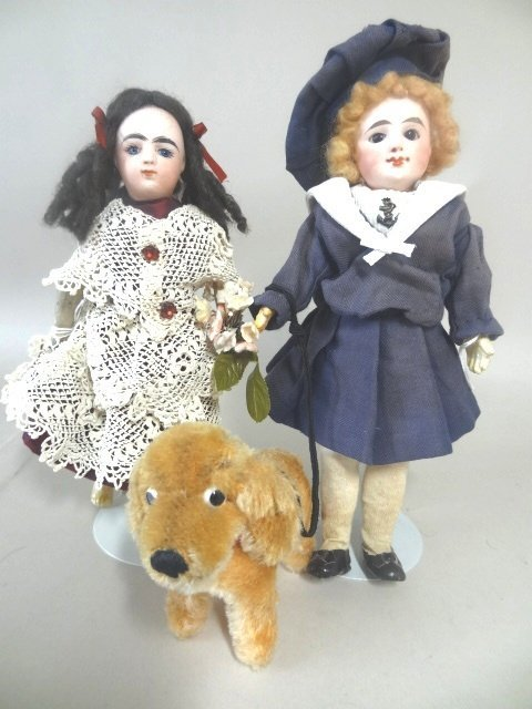 Group of Two Small French Dolls and Dog