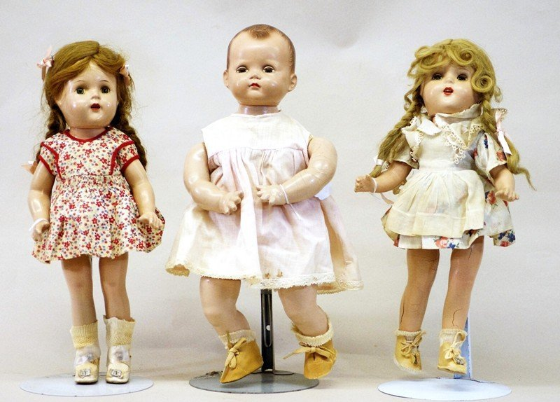 Group of Three  Composition Dolls